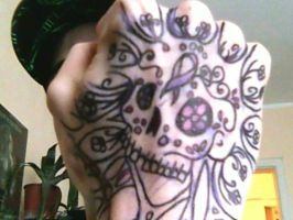 Sugar skull hand tattoo 2 by Chromone