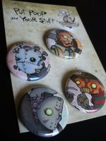 horror-bots button set. by poopbird