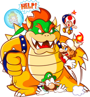 Mario 'and friends' VS Bowser by JamesmanTheRegenold