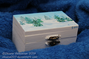 Winter -painting on the wood box by Oksana007