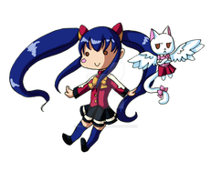Wendy and Carla chibis by AlmightyHighElf