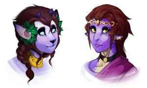 purple neopet ladies by Tazzil