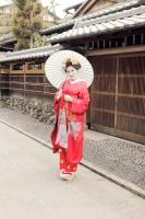 maiko makeover: in the street with umbrella by moonlightspirit