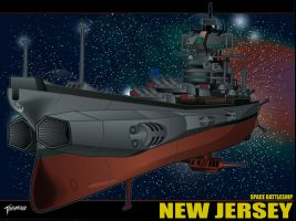 Space Battleship New Jersey Wallpaper by stourangeau