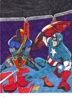 Captain America vs Deathstroke by gagex07