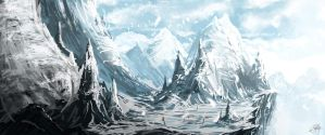 Speedpaint - Snowy Mountains by Rockxass