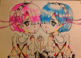Rem and ram by Eso-chan
