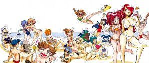 Persona 3 and 4 at the beach by Rafchu