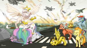 MLP FIM: Celestia and the Queen of Griffons by hinoraito