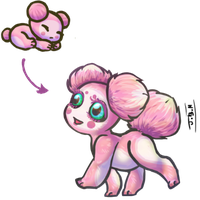 Pink Asteroid Puppy for CupcakeSwirlix by Jesseth