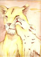Lioness and cub by -cheshire-cat-