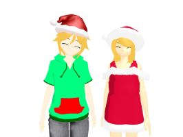 MMD Newcomers - Christmas Rin and Len by Xeno-Fan-Jinusa