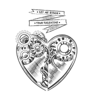 Valentines day vector steampunk card by anastasiyacemetery