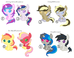 MLP Shipped Adoptables part 1 (CLOSED) by Psycho-CandyAddicted