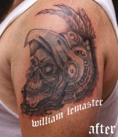 AFTER - Aztec skull by bill by SmilinPirateTattoo