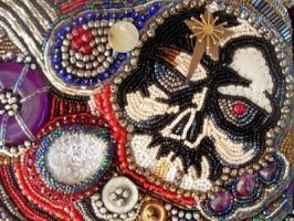 Bead embroidered skull purse by dogzillalives