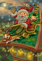 Santa, Elf, and Deer the Corgi by altonova