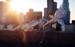 Two Faeries at Dawn in City by pnn32