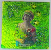 wall hanging panel- chartreuse by tisjewel