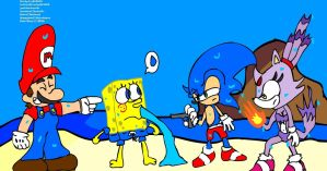 Mario Sonic Sponge Blaze at the beach by DarkraDx