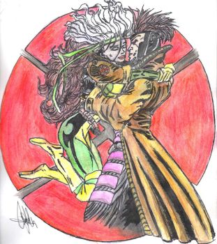 Rogue and Gambit Watercolored by CJRogue