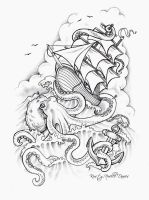 Octopus Sinking Ship Tattoo Design by kirstynoelledavies