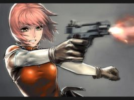 Girl Shooting Cool Colt 45. by swiftythefluffball