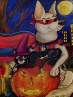 Halloween poster (Bolt and Mittens) by LizLightningGSD