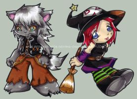 Halloween Town Riku and Kairi. by KeyshaKitty