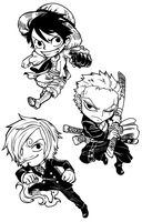 Monster Trio Chibis by AjamariesArt