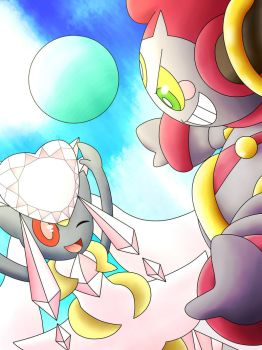 Hoopa and Diancie by Jolterus