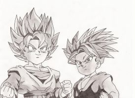 Goten and Trunks shaded by superheroarts