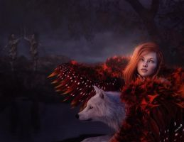 Redhead Fantasy Girl with Wings and Wolf, 3D Art by shibashake