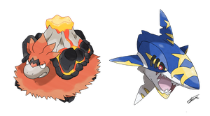 Mega Camerupt and Mega Sharpedo (official) by Tomycase