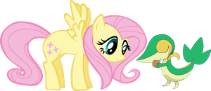 fluttershy and snivy(tsutarja) by shirorinku