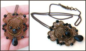 brass and black baroque neckla by annie-jewelry