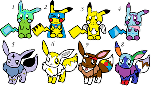 adopt a Eevee and Pikachu by blowyourownapple