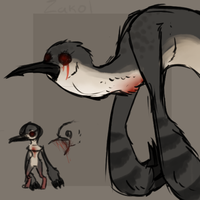 Zakol the murderous bleeding heart dove monster by TheseWeirdFishes