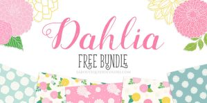 FREE Bundle - Dahlia Clipart - Patterns - Stickers by KaipheArt
