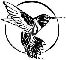 Hummingbird tribal tattoo by Finaira