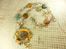 Brass Crystal Jasper Fabric Flower Necklace by DryGulchJewelry