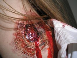 Chew off my neck a.k.a. zombie bite [MAKEUP] by The-Blue-Oddball