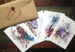Hand Drawn Envelope with Ltd ed Signed Cards by Carnegriff