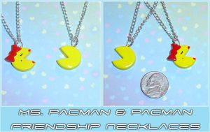 Ms Pacman and Pacman Necklaces by YellerCrakka