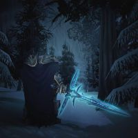 Lich King with the Crusader form Frostmourne. by avispadator