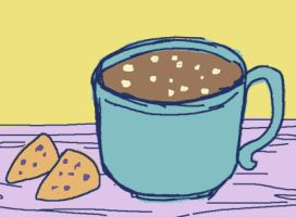 hot cocoa and blueberry scones by phennin