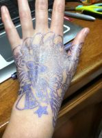 Purple Paisley Hand back by Wintaria