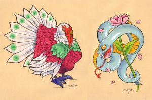 Psychedelic Turkey and a Snake by frowzivitch