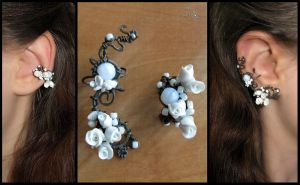 Floral wedding ear cuffs by JSjewelry