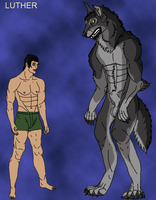Luther Werewolf and human form by lighteningfox